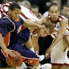 OU\'s lake Griffin, center, and Omar Leary fight with Morgan State\'s Jermaine Bolden for the ball during a first round game of the men\'s NCAA tournament between Oklahoma and Morgan State in Kansas City, Mo., Thursday, March 19, 2009. PHOTO BY BRYAN TERRY, THE OKLAHOMAN