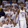 Oklahoma City\'s Kevin Durant (35) reacts after loosing Game 2 in the second round of the NBA playoffs between the Oklahoma City Thunder and the Memphis Grizzlies at Chesapeake Energy Arena in Oklahoma City, Sunday, May 5, 2013. Memphis won 99-93.Photo by Sarah Phipps, The Oklahoman