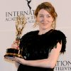 Annabel Jones of Great Britain holds her emmy after winning the TV Movie/Mini-Series award for