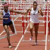 Guthrie\'s Asia Johnson and Shawnee\'s Jasmine Robinson run toward the finish line in the girl\'s 100 meter hurdles of the 5A and 6A State Track Meet in Yukon, OK, Saturday, May 11, 2013, By Paul Hellstern, The Oklahoman