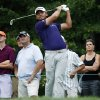 Photo - Jason Day tees off on the first hole during the third round of the Deutsche Bank Championship golf tournament in Norton, Mass., Sunday, Aug. 31, 2014. (AP Photo/Michael Dwyer)