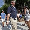 Brian Hardee of the National Guard\'s 63rd CSD carries a device that scans the air as he walks through the crowd in Thunder Alley on patrol during Game 2 of the NBA Finals between the Oklahoma City Thunder and the Miami Heat at Chesapeake Energy Arena in Oklahoma City, Thursday, June 14, 2012. Photo by Chris Landsberger, The Oklahoman