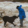 Eight year old Sam and his black lab, Dakota, as the snow just gets started. Community Photo By: self Submitted By: Kallin, Midwest City