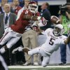 Oklahoma\'s Julian Wilson (2) breaks up a pass for Texas A&M\'s Kenric McNeal (5) during the college football Cotton Bowl game between the University of Oklahoma Sooners (OU) and Texas A&M University Aggies (TXAM) at Cowboy\'s Stadium on Friday Jan. 4, 2013, in Arlington, Tx. Photo by Chris Landsberger, The Oklahoman