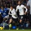Photo - Everton's Romelu Lukaku, left, keeps the ball from Tottenham's Vlad Chiriches, centre, as Sandro looks on during their English Premier League soccer match at Goodison Park Stadium, Liverpool, England, Sunday Nov. 3, 2013. (AP Photo/Jon Super)