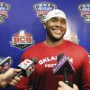 Oklahoma linebacker Dominique Alexander (42) talks with the media NCAA college football practice at the New Orleans Saints training facility in Metairie, La., Saturday, Dec. 28, 2013. Oklahoma will play Alabama in the Sugar Bowl on Jan. 2, 2014. (AP Photo/Bill Haber)