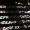 The Amtrak departures board shows a canceled train to Boston at Penn Station, Friday, April 19, 2013 in New York. Mass transit to and from the Boston area was virtually shut down Friday as police conducted a massive manhunt for a suspect in Monday\'s Boston Marathon bombing. (AP Photo/Jason DeCrow)