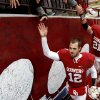 Oklahoma\'s Landry Jones (12) leaves the field after a college football game between the University of Oklahoma Sooners (OU) and the Iowa State University Cyclones (ISU) at Gaylord Family-Oklahoma Memorial Stadium in Norman, Okla., Saturday, Nov. 26, 2011. Photo by Bryan Terry, The Oklahoman