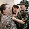 Jacob Payne, 4, reacts as he is picked up by his father SSG James Payne while his mother Nicole looks on during the return of Tinker Air Force Base\'s 34th Combat Communications Squadron from a tour in Iraq at Will Rogers World Airport on Monday, Jan. 21, 2008, in Oklahoma City, Okla. BY CHRIS LANDSBERGER, THE OKLAHOMAN
