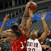 Del City\'s Desiree Jeffries (32) blocks a shot by Tulsa Union\'s Destinee Frierson (20) during the girls class 6A quarterfinals game at the Ford Center on Thursday, March 6, 2008, in Oklahoma City, Okla. BY CHRIS LANDSBERGER, THE OKLAHOMAN