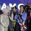 FILE - In this Monday, June 4, 2012 file photo, Britain\'s Queen Elizabeth II, 2nd from left, is joined on stage by performers Sir Tom Jones, Annie Lennox, Sir Paul McCartney and Sir Elton John at the conclusion of the Queen\'s Jubilee Concert in front of Buckingham Palace, London. McCartney turned 70 years of age Monday June 18, 2012. (AP Photo/Joel Ryan)