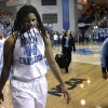North Carolina guard Tierra Ruffin-Pratt (44) walks off the court after losing a second-round game against Delaware in the women\'s NCAA college basketball tournament in Newark, Del., Tuesday, March 26, 2013. Delaware won 78-69. (AP Photo/Patrick Semansky)