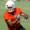 Wide receiver WIlliam Cole runs upfield after making a catch during the first Oklahoma State University fall football practice, in Stillwater, Okla., Thursday, July 31, 2008. BY MATT STRASEN, THE OKLAHOMAN