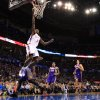 Oklahoma City\'s\' Serge Ibaka (9) dunks the ball during the NBA game between the Oklahoma City Thunder and the Phoenix Suns at theChesapeake Energy Arena, Saturday, Feb. 9, 2013.Photo by Sarah Phipps, The Oklahoman