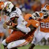 Clemson\'s Tavaris Barnes sacks Maryland quarterback Shawn Petty during the second half of an NCAA college football game Saturday, Nov. 10, 2012, at Memorial Stadium in Clemson, S.C. Clemson won 45-10. (AP Photo/Richard Shiro)