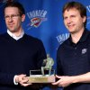 Photo - NBA BASKETBALL / NAME / NAMING: Oklahoma City Thunder head coach Scott Brooks and general manager Sam Presti pose with the Red Auerbach Trophy during a press conference at the Ford Center in Oklahoma City, Oklahoma on Wednesday, April 21, 2010. Scott Brooks was named the NBA Coach of the Year. By John Clanton, The Oklahoman ORG XMIT: KOD