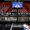 Oklahoma CIty coach Scott Brooks is seen on a monitor before practice for Game 3 of the NBA Finals between the Oklahoma City Thunder and the Miami Heat at American Airlines Arena in Miami, Saturday, June 16, 2012. Photo by Bryan Terry, The Oklahoman