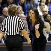 Duke head coach Joanne P. McCallie speaks with an official during the second half of a second-round game against Oklahoma State in the women\'s NCAA college basketball tournament in Durham, N.C., Tuesday, March 26, 2013. Duke won 68-59. (AP Photo/Gerry Broome)