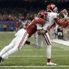 Oklahoma\'s Jalen Saunders (8) makes a catch Alabama\'s Ha Ha Clinton-Dix (6) tries to bring him down during the NCAA football BCS Sugar Bowl game between the University of Oklahoma Sooners (OU) and the University of Alabama Crimson Tide (UA) at the Superdome in New Orleans, La., Thursday, Jan. 2, 2014. Photo by Sarah Phipps, The Oklahoman