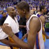 Los Angeles\' Kobe Bryant (24) and Oklahoma City\'s Kevin Durant (35) talk after Game 5 in the second round of the NBA playoffs between the Oklahoma City Thunder and the L.A. Lakers at Chesapeake Energy Arena in Oklahoma City, Monday, May 21, 2012. Oklahoma City won 106-90. Photo by Bryan Terry, The Oklahoman