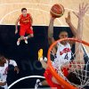 United States\' Tyson Chandler (4) drives to the basket against Spain during the men\'s gold medal basketball game at the 2012 Summer Olympics in London on Sunday, Aug. 12, 2012. (AP Photo/Christian Petersen, Pool)