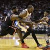 Miami Heat small forward LeBron James (6) and point guard Norris Cole (30) apply pressure on Oklahoma City Thunder small forward Kevin Durant (35) during the third period of an NBA basketball game in Miami, Wednesday, Jan. 29, 2014. The Thunder won 112-95. (AP PhotoAlan Diaz)