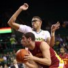 Iowa State\'s Georges Niang drives on Baylor\'s Isaiah Austin, rear, in the first half of an NCAA college basketball game, Wednesday, Feb. 20, 2013, in Waco, Texas. (AP Photo/The Waco Tribune-Herald, Michael Bancale)