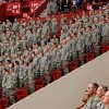 Troops stand at attention during the playing of the national anthem during the 45th Infantry Brigade Combat Team deployment ceremony inside the Cox Convention Center, Wednesday, Feb. 16, 2011. Photo by Jim Beckel, The Oklahoman