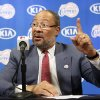 Photo - Dick Parsons, the former Citigroup chairman and former Time Warner chairman and CEO, who was named  interim CEO of the Los Angeles Clippers by the NBA league, takes questions during a news conference at the Staples Center in Los Angeles Monday, May 12, 2014. (AP Photo)