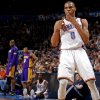 Oklahoma City\'s Russell Westbrook (0) celebrates after a basket during an NBA basketball game between the Oklahoma City Thunder and the Los Angeles Lakers at Chesapeake Energy Arena in Oklahoma City, Thursday, Feb. 23, 2012. Photo by Bryan Terry, The Oklahoman