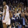 Oklahoma City\'s Kevin Durant (35) reacts after making the final basket during the NBA basketball game between the Denver Nuggets and the Oklahoma City Thunder in the first round of the NBA playoffs at the Oklahoma City Arena, Wednesday, April 27, 2011. Photo by Bryan Terry, The Oklahoman