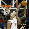 Oklahoma City\'s Etan Thomas blocks the shot of Miami\'s Udonis Haslem during an NBA preseason game between the Oklahoma City Thunder and the Miami Heat at the BOK Center in Tulsa, Okla., Wednesday, October 14, 2009. Photo by Bryan Terry, The Oklahoman