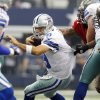 Tampa Bay Buccaneers defensive end Michael Bennett (71) sacks Dallas Cowboys quarterback Tony Romo (9) during the first half of an NFL football game on Sunday, Sept. 23, 2012, in Arlington, Texas. (AP Photo/LM Otero)