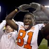 Oklahoma State\'s Justin Blackmon (81) celebrates the Cowboys\' win over Texas at Darrell K Royal-Texas Memorial Stadium in Austin, Texas, Saturday, November 13, 2010. Photo by Sarah Phipps, The Oklahoman