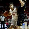 Oklahoma\'s Portia Durrett drives past Kelsey Jacobs as the University of Oklahoma Sooners (OU) play the Wichita State Shockers in NCAA, women\'s college basketball at The Lloyd Noble Center on Sunday, Nov. 10, 2013 in Norman, Okla. Photo by Steve Sisney, The Oklahoman