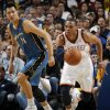 Oklahoma City\'s Russell Westbrook (0) leads a fast break in front of Washington\'s Yi Jianlian (31) during the NBA basketball game between the Washington Wizards and the Oklahoma City Thunder at the Oklahoma City Arena in Oklahoma City, Friday, January 28, 2011. Photo by Nate Billings, The Oklahoman