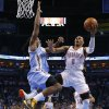 Oklahoma City\'s Russell Westbrook (0) can\'t get past Denver\'s Kenneth Faried (35) during an NBA basketball game between the Oklahoma City Thunder and the Denver Nuggets at Chesapeake Energy Arena in Oklahoma City, Tuesday, March 19, 2013. Denver won 114-104. Photo by Bryan Terry, The Oklahoman