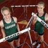Edmond Santa Fe hurdlers and twin sisters Erin Hart, left, and Emily Hart pose for a photo at the Edmond Santa Fe High School track in Edmond, Okla., Thursday, May 9, 2013. Photo by Nate Billings, The Oklahoman