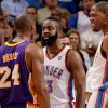 Oklahoma City\'s James Harden (13) and Kevin Durant (35) reacts next to Los Angeles\' Kobe Bryant (24) during an NBA basketball game between the Oklahoma City Thunder and the Los Angeles Lakers at Chesapeake Energy Arena in Oklahoma City, Thursday, Feb. 23, 2012. Oklahoma City won 100-85. Photo by Bryan Terry, The Oklahoman