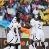 Ghana\'s Wakaso Mubarak, second from right, celebrates with teammates after scoring his second goal during their quarter final of the African Cup of Nations soccer match against Cape Verde at the Nelson Mandela Bay Stadium in Port Elizabeth, South Africa, Saturday Feb. 2, 2013. (AP Photo/Themba Hadebe)