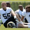 Photo -   St. Louis Rams linebacker James Laurinaitis stretches during NFL football practice, Wednesday, May 16, 2012, at the team's training facility in St. Louis. (AP Photo/Jeff Roberson)