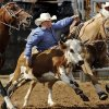 Casey Barnes of Maybell, CO, tries to get position on this moving steer but is unable to corral it in the steer wrestling event during the morning go-round at the IFYR rodeo on Thursday, July 11, 2013. July 10, 2013. Barnes received a