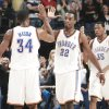 The Thunder's Desmond Mason, Jeff Green and Kevin Durant celebrate late in the fourth quarter Friday. Photo by nate billings, the oklahoman