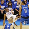 Oklahoma City\'s Kevin Durant (35) falls down after being fouled by Shawn Marion (0) of Dallas as Jason Kidd (2) looks on in the second half during game 3 of the Western Conference Finals of the NBA basketball playoffs between the Dallas Mavericks and the Oklahoma City Thunder at the OKC Arena in downtown Oklahoma City, Saturday, May 21, 2011. Dallas won, 93-87. Photo by Nate Billings, The Oklahoman
