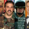 This combination of undated family photos provided by the Show of Support, Hunt for Heroes committee show, from left: Sgt. Maj. Gary Stouffer, 37; Sgt. Maj. Lawrence Boivin, 47; Army Sgt. Joshua Michael, 34, and Sgt. Maj. William Lubbers, 43, four veterans killed when a parade float they were riding on was struck by a freight train at a crossing Thursday, Nov. 15, 2012, in Midland, Texas. (AP Photo/Courtesy Show Of Support)
