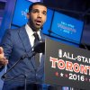 Photo - Canadian recording artist Drake speaks at a news conference after the announcement that the Toronto Raptors will host the 2016 NBA All Star game at a news conference in Toronto on Monday Sept. 30, 2013. (AP Photo/The Canadian Press, Frank Gunn)