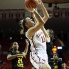 Oklahoma\'s Morgan Hook shoots as the University of Oklahoma Sooners (OU) play the Wichita State Shockers in NCAA, women\'s college basketball at The Lloyd Noble Center on Sunday, Nov. 10, 2013 in Norman, Okla. Photo by Steve Sisney, The Oklahoman