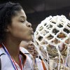 Preston\'s Maylisa Johnson kisses the championship trophy following the girls Class A State Basketball finals between Preston and Crowder, Saturday, March 7, 2009, at the State Fair Arena in Oklahoma City . PHOTO BY SARAH PHIPPS, THE OKLAHOMAN