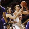Oklahoma\'s Tara Dunn (43) fouled by TCU\'s Caitlin Diaz (32) during a women\'s college basketball game between the University of Oklahoma and TCU at the Llyod Noble Center in Norman, Okla., Wednesday, Jan. 30, 2013. Oklahoma won 74-53. Photo by Bryan Terry, The Oklahoman