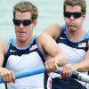 Photo - USA's Cameron Winklevoss, left, and twin brother Tyler take the start of their Men's pair repechage  at the Beijing 2008 Olympics in Beijing, Monday, Aug. 11, 2008.  (AP Photo/Gregory Bull)